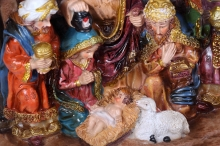 Christmas Crib. Nativity scene with the holy family and Jesus in the manger.